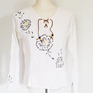 Refashioned Vintage Boho Embroidered Top (S/M)